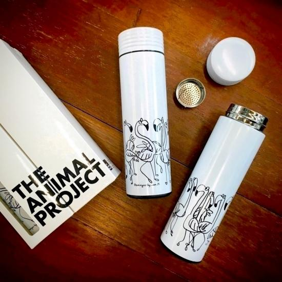 White Vacuum Flask - Flamingos