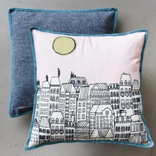 Cushion Cover  - Townscape by Glenn