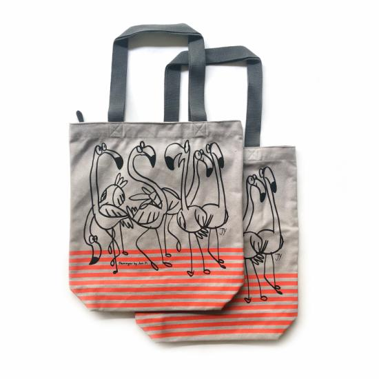 Flamingos Zipper Tote – Grey Canvas