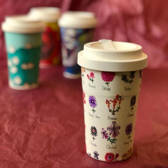 Sustainable Bamboo Fibre Go Cup 400ml - Flowers