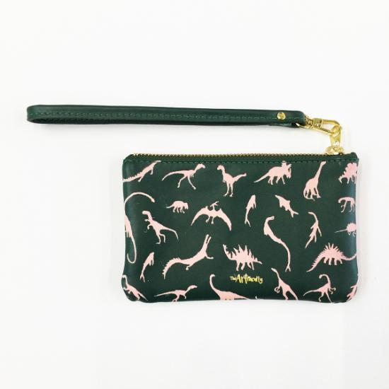 Dino Leather Petite Wristlet - Dusty Pink on Sage