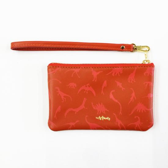 Dino Leather Petite Wristlet - Coral