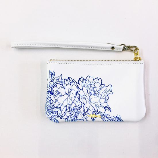 Peony Leather Petite Wristlet - Blue on White