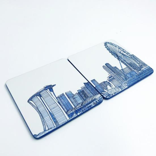 Coaster Set of 2 - The Marina View
