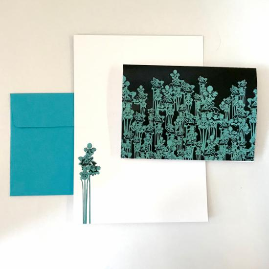Greeting Card - Teal Orchids