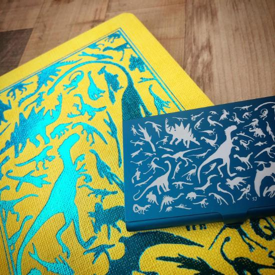 A5 Notebook Yellow Turquoise Dino with Blue card case