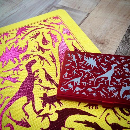 A5 Notebook Yellow Fuchsia Pink Dino with Red Card Case