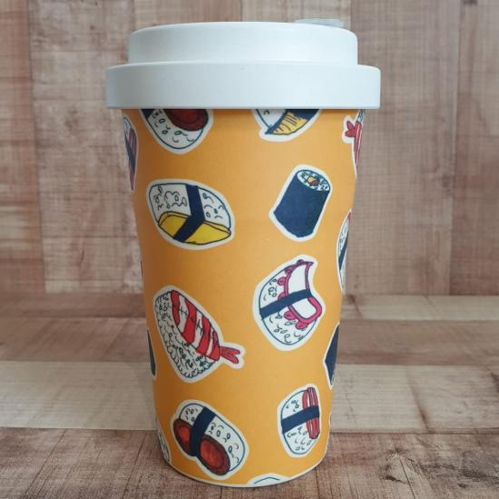 Sustainable Bamboo Fibre Go Cup 400ml - Yellow Sushi
