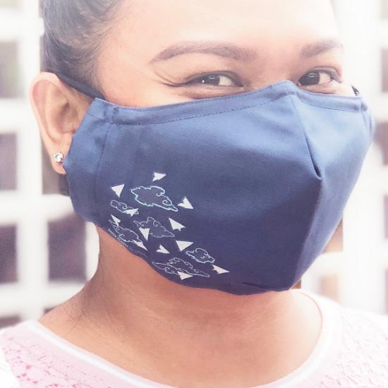 Face Mask - Paper Planes (Regular)(Slate Blue)