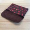 Dino Leather Flap Pouch - Brown & Vermilion