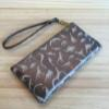 Dino Leather Wristlet Clutch – Bronze & Cream
