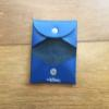 Leather Card Holder w Snap Button - Navy & Cobalt Dino