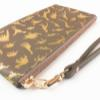 Dino Leather Wristlet Clutch - Matte Gold on Stone