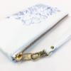 Peony Leather Wristlet Clutch - Blue on White