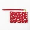 Dino Leather Petite Wristlet - White on Red