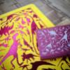 A5 Notebook Yellow Fuchsia Pink Dino with Pink card case