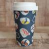 Sustainable Bamboo Fibre Go Cup 400ml - Navy Sushi