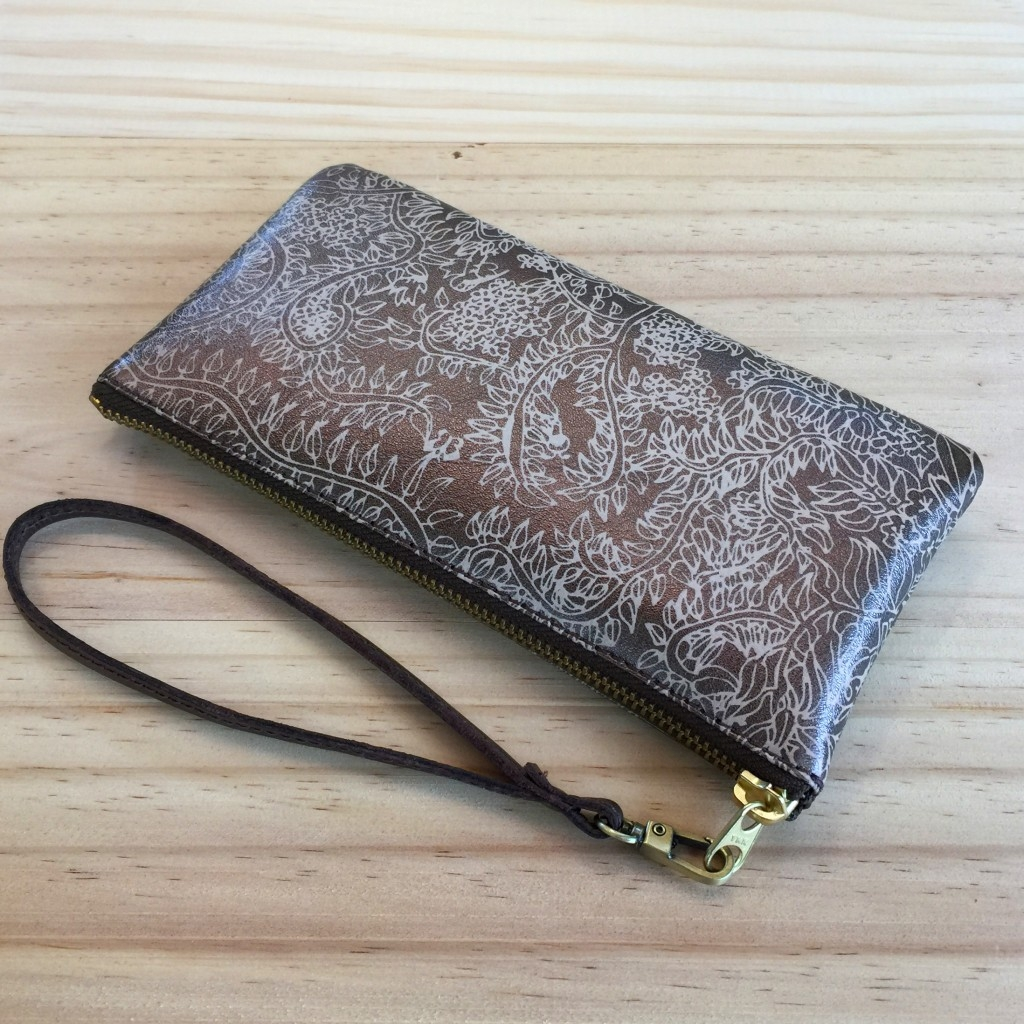 Secret Garden Leather Wristlet Clutch – Bronze & Cream