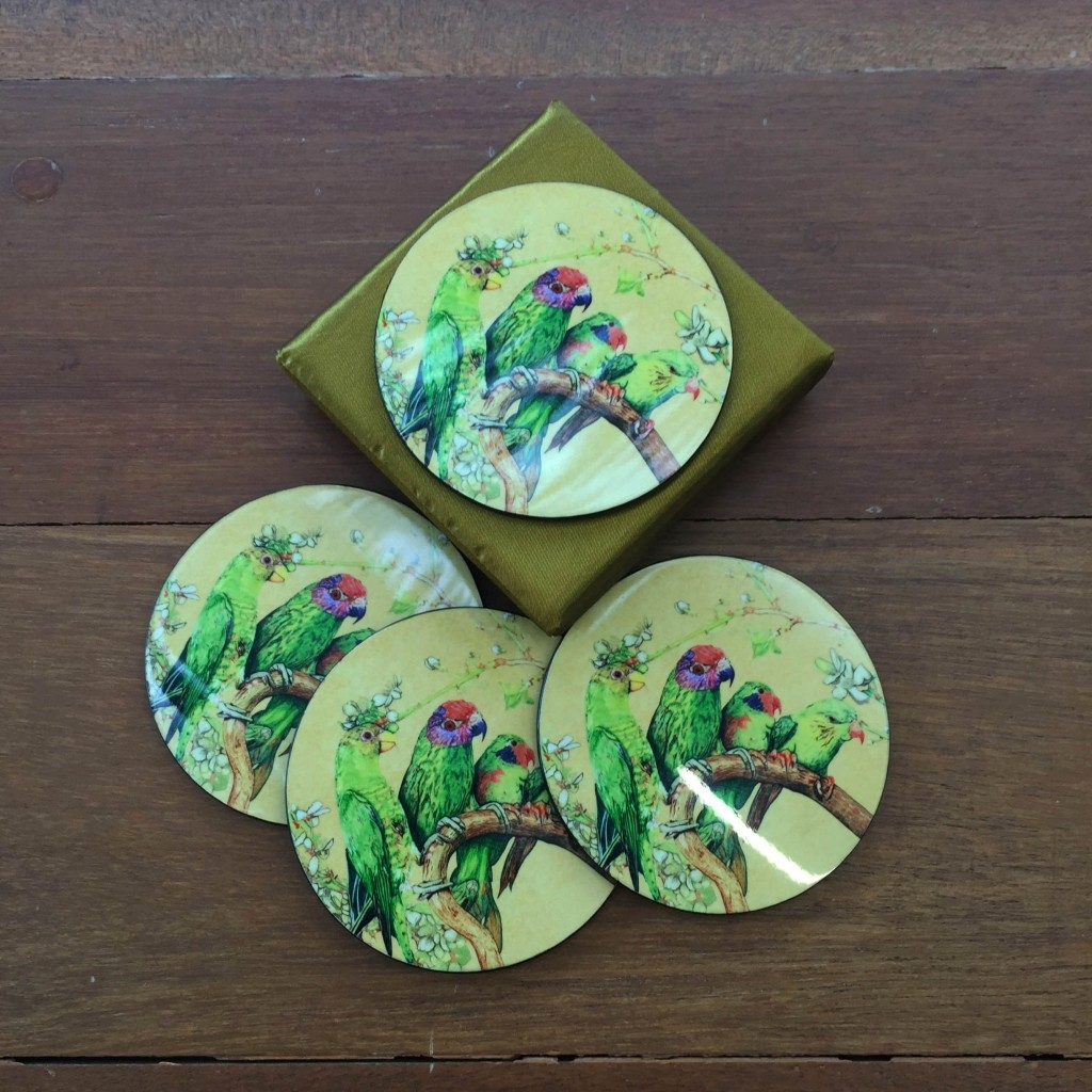 Coaster Set of 4 - Parrots by Selina Seow