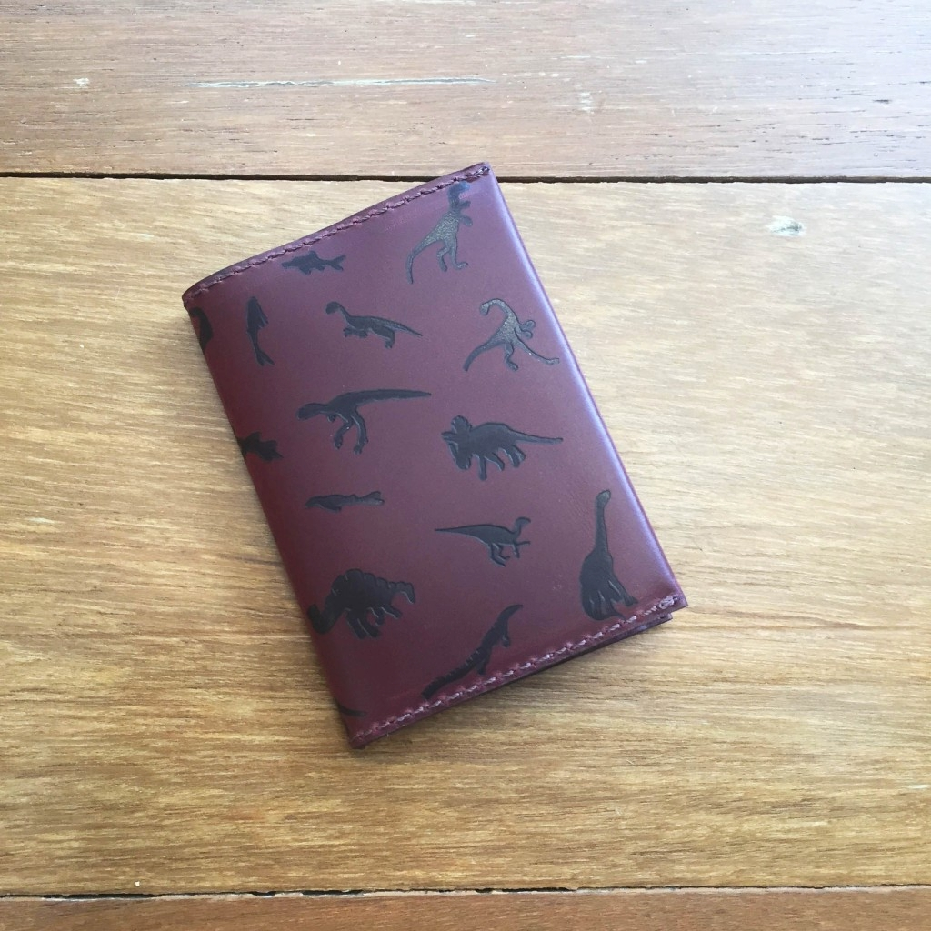 Leather Card Holder – Brown & Burgundy Dino
