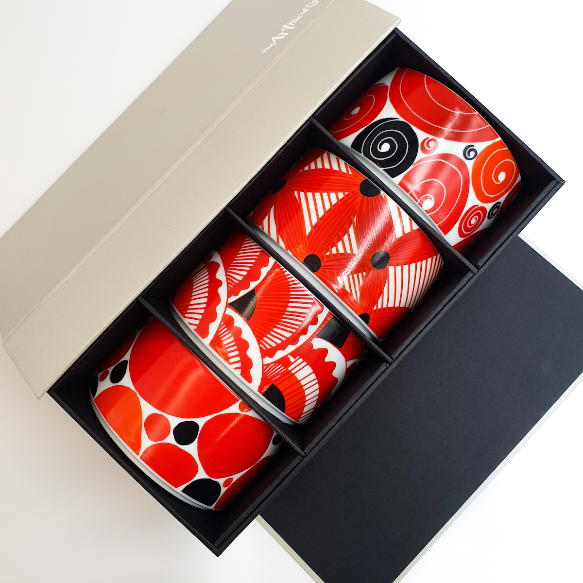 Scandi RED Dessert Bowls Gift Set of 4