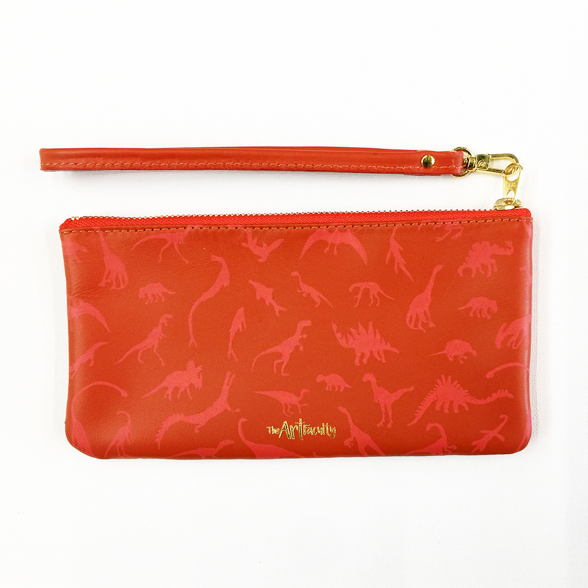 Dino Leather Wristlet Clutch - Coral