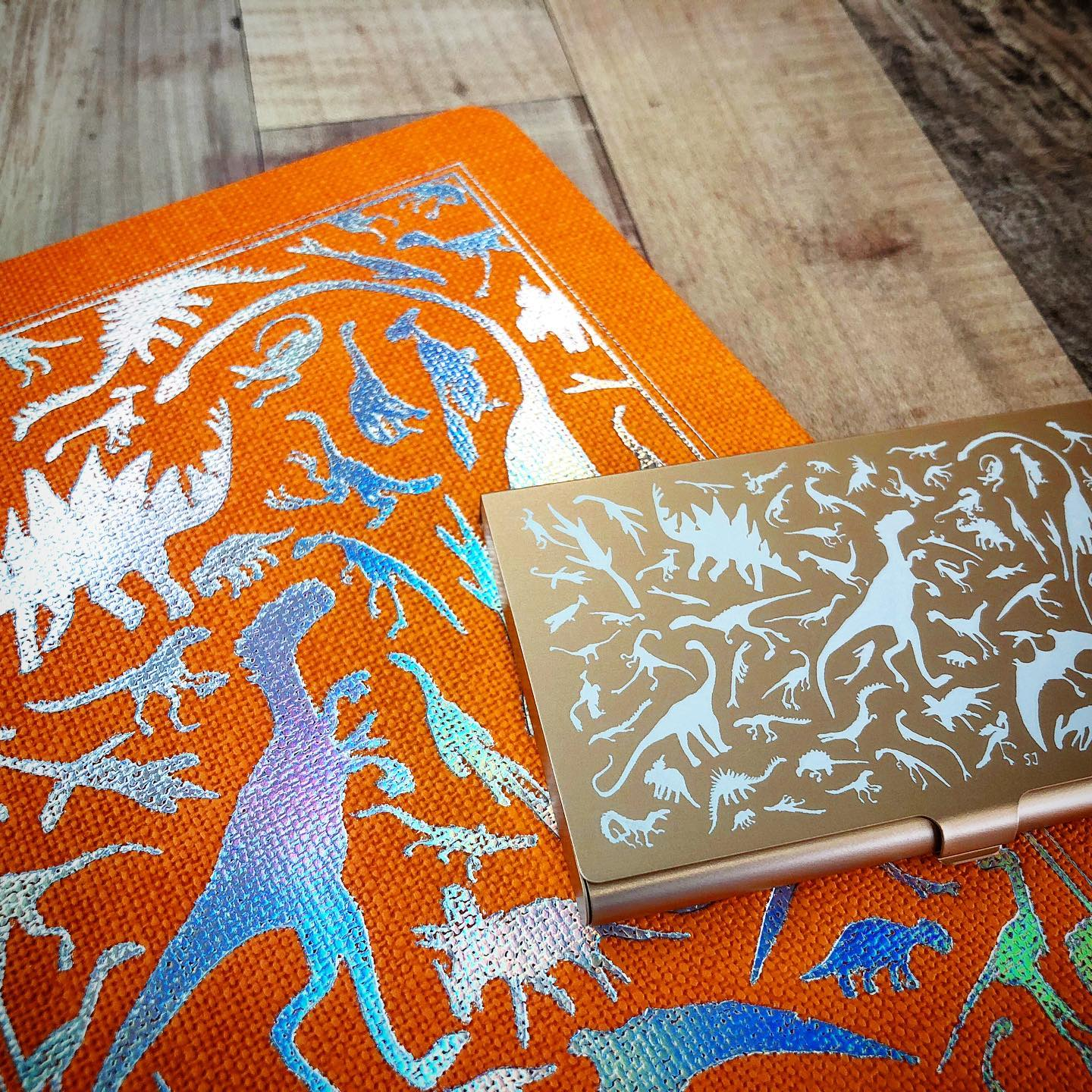 A5 Notebook Orange Silver Dino with Champagne card case