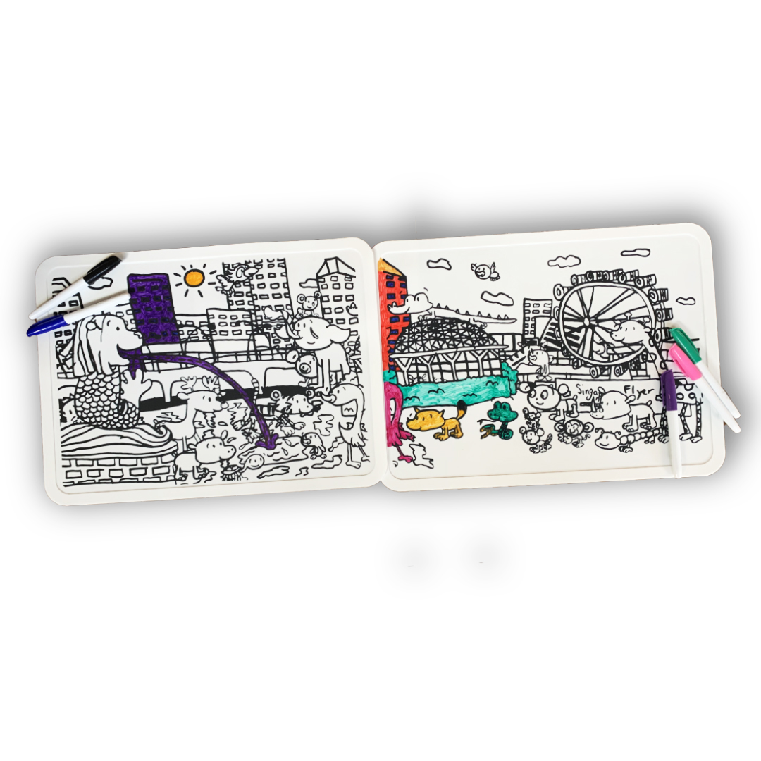 Silicone Colouring Mat (Set of 2) - Animals in Merlion Park