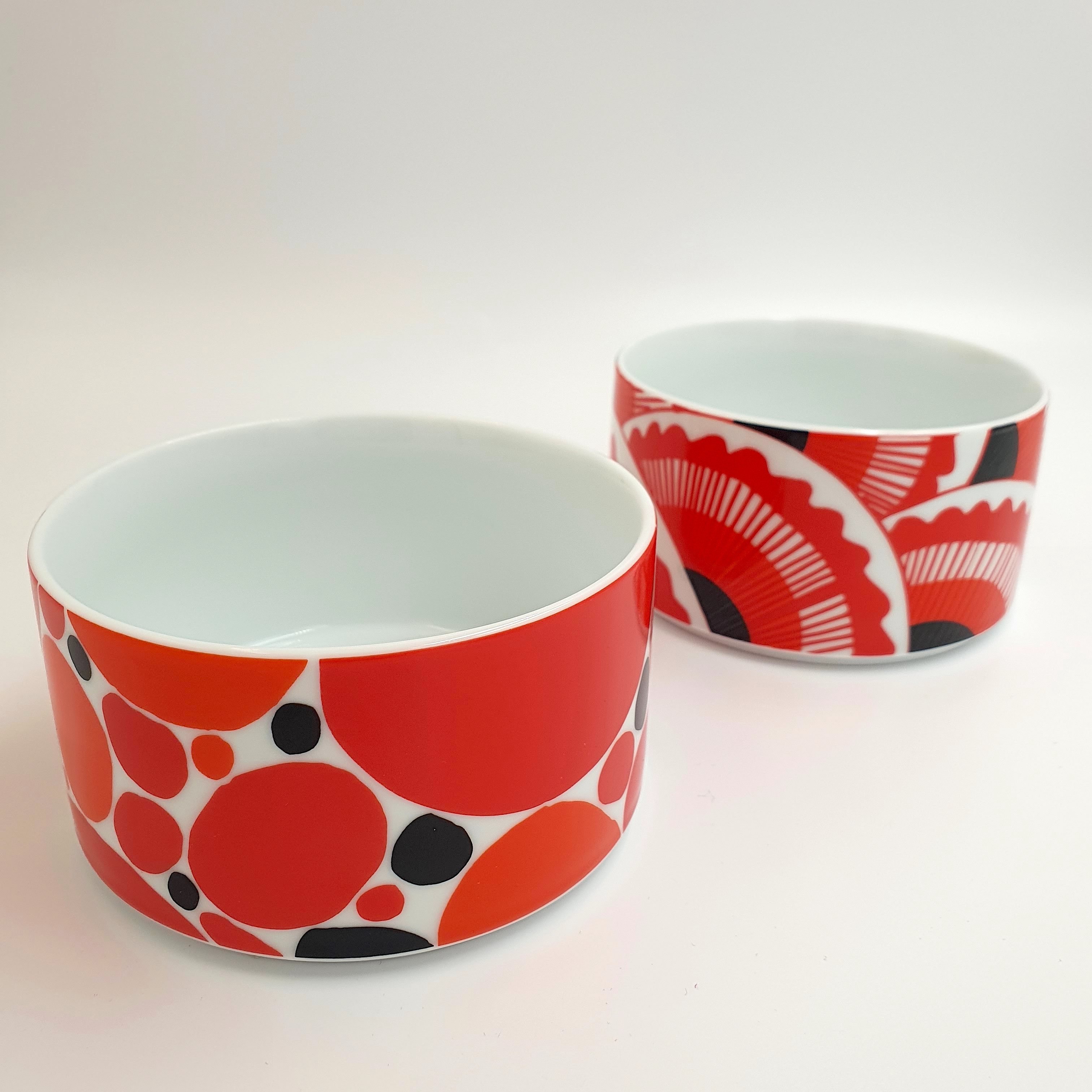 Scandi RED Dessert Bowls Set A - Adipocytes & Bivalvia